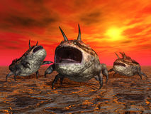 Alien Planet with Alien Creatures Stock Photo