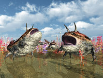 Alien Planet with Alien Creatures Royalty Free Stock Photography