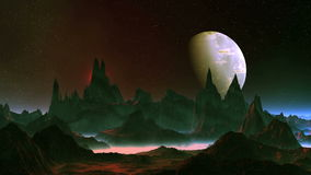 Alien Planet and Big Moon. On a dark starry sky a large planet moon slowly rotates, the pink sun shines brightly in a red halo. Beneath them are the cliffs royalty free illustration