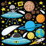 Alien, planet, comets, asteroids and stars Royalty Free Stock Photo