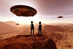 An alien planet. 3d illustration Science fiction concept background royalty free illustration