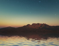 Alien Planet. 3D landscape with stars reflected in water surface Royalty Free Stock Images