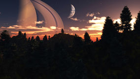Alien Planet - 3D Rendered Computer Artwork. Distant alien world - earth like planet with multiple moons- 3D Rendered Computer Artwork Stock Photo