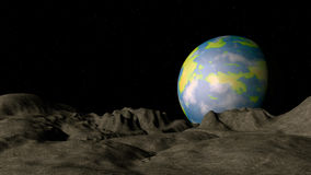 Alien planet in deep space. 3d illustration Stock Images