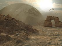 Alien planet desert Stock Images