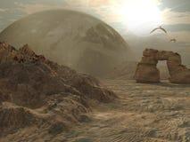 Alien planet desert. With flying creatures stock illustration