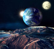 Alien Planet. With Earth Moon And Mountains . 3D Rendered Computer Artwork. Elements of this image furnished by NASA Royalty Free Stock Photography
