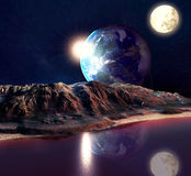 Alien Planet. With Earth Moon And Mountains . 3D Rendered Computer Artwork. Elements of this image furnished by NASA Royalty Free Stock Photos