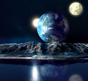 Alien Planet. With Earth Moon And Mountains . 3D Rendered Computer Artwork. Elements of this image furnished by NASA Stock Image