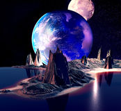 Alien Planet. With Earth Moon And Mountains . 3D Rendered Computer Artwork. Elements of this image furnished by NASA Stock Photography