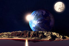 Alien Planet. With Earth Moon And Mountains . 3D Rendered Computer Artwork. Elements of this image furnished by NASA Stock Photos