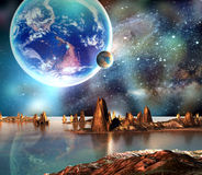 Alien Planet With Earth Moon And Mountains Stock Image