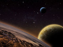Alien Planet fantasy space scene. Alien planet with 2 close moons in orbit that have an atmosphere. Sci-fi Fantasy artwork Stock Photo