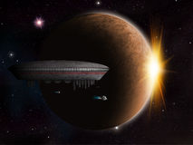 Alien Planet fantasy space scene Royalty Free Stock Photos