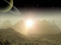 Alien Planet fantasy space scene Royalty Free Stock Photography