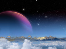 Alien Planet fantasy space scene Stock Photos