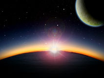 Alien Planet fantasy space scene. Alien planet ocean at sunrise or sunset with 2 close moons in orbit. Sci-fi Fantasy artwork Royalty Free Stock Images