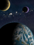 Alien Planet fantasy space scene. Alien Planets: A sci-fi fantasy space scene with an earth like planet with 2 moons and an asteroid belt Stock Images