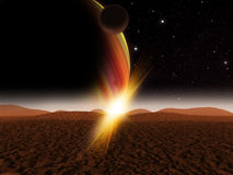 Alien Planet fantasy space scene Royalty Free Stock Photo
