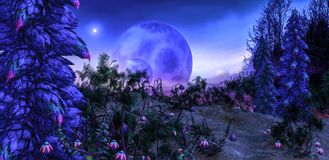 Alien PLanet With fantasy trees and plants. An illustration of an alien planet showing other planets, fantasy plants and trees vector illustration