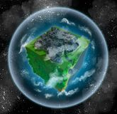 Alien planet with forests, sea, and city. 3d image of a habitable alien planet made in retro voxel style. Shaped like a cube, it is surrounded with atmosphere Stock Images
