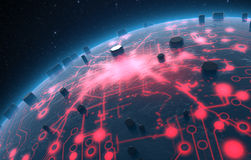 Alien Planet With Illuminated Network Stock Photo