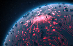 Alien Planet With Illuminated Network Royalty Free Stock Images