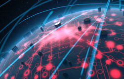 Alien Planet With Illuminated Network And Light Trails Royalty Free Stock Image