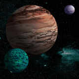 Alien planet. Illustration of a alien planet surrounded by two strange moons Royalty Free Stock Photos