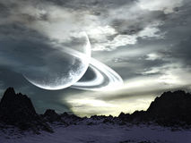 Alien Planet Landscape. Illustration of landscape of an alien planet with strange clouds and ringed moon on the sky royalty free illustration
