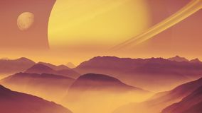 Alien planet landscape with planet and moon in the sky Royalty Free Stock Photos