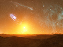 Alien Planet. Landscape with stars and galaxy in sky Royalty Free Stock Photography