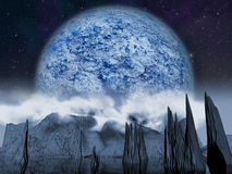 Alien planet. Large blue moon Royalty Free Stock Image