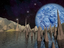 Alien planet. Large blue planet rises Royalty Free Stock Photo