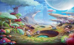 Alien Planet the Meteor Crafter with Fantastic, Realistic and Futuristic Style. Video Game`s Digital CG Artwork, Concept Illustration, Realistic Cartoon Style royalty free illustration