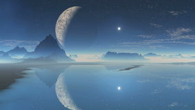 Alien planet and the moon in the reflection stock video footage