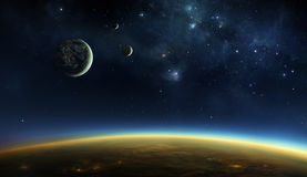 Alien planet with moons. Illustration of an alien planet viewed from orbit in space above the twilight zone with lights of cities visible under the cloud layer Stock Photos