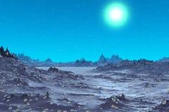 Alien Planet. Mountain. 3D rendering. Fantasy alien planet. Mountain. 3D illustration Stock Photography