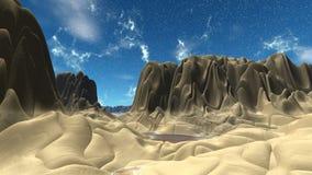 Alien Planet. Mountain. 3D rendering. Fantasy alien planet. Mountain. 3D illustration Stock Photos