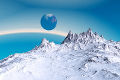 Alien Planet. Mountain. 3D rendering. Fantasy alien planet. Mountain. 3D illustration Royalty Free Stock Photo