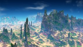 Alien Planet. Mountain. 3D rendering. Fantasy alien planet. Mountain. 3D illustration Royalty Free Stock Images