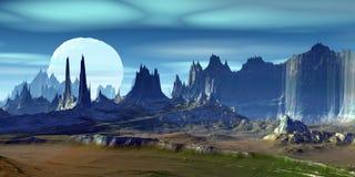 Alien Planet. Mountain. 3D rendering. Fantasy alien planet. Mountain. 3D illustration royalty free illustration