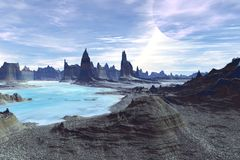 Alien Planet. Mountain and  water. 3D rendering Royalty Free Stock Image