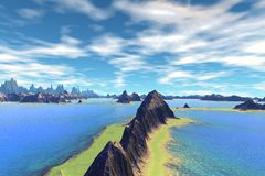 Alien Planet. Mountain and  water. 3D rendering Stock Photos
