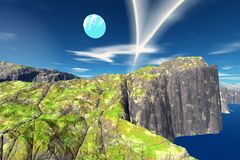Alien Planet. Mountain and  water. 3D rendering. Fantasy alien planet. Mountain and water. 3D illustration Stock Photos