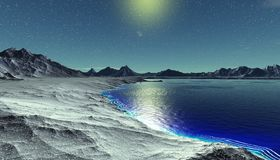 Alien Planet. Mountain and  water. 3D rendering. Fantasy alien planet. Mountain and water. 3D illustration Royalty Free Stock Images