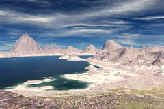 Alien Planet. Mountain and  water. 3D rendering. Fantasy alien planet. Mountain and water. 3D illustration Royalty Free Stock Photos