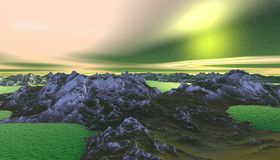 Alien Planet. Mountain and  water. 3D rendering. Fantasy alien planet. Mountain and water. 3D illustration Royalty Free Stock Image