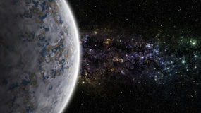Alien planet with nebula in the deep space Stock Images