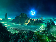 Alien Planet with Neutron Star. Futuristic building in the distance surrounded by turquoise and green rocks.  The scene is illuminated by light from a distant Stock Photos